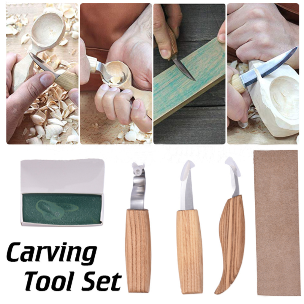 Cut-Proof Gloves in Tools Roll for Beginners and Professional Woodcarvers 6 Pcs Wood Carving Tools Set with Chip Carving Knife,Woodworking Whittling Knife Polishing Wax Grey Sharpening Leather