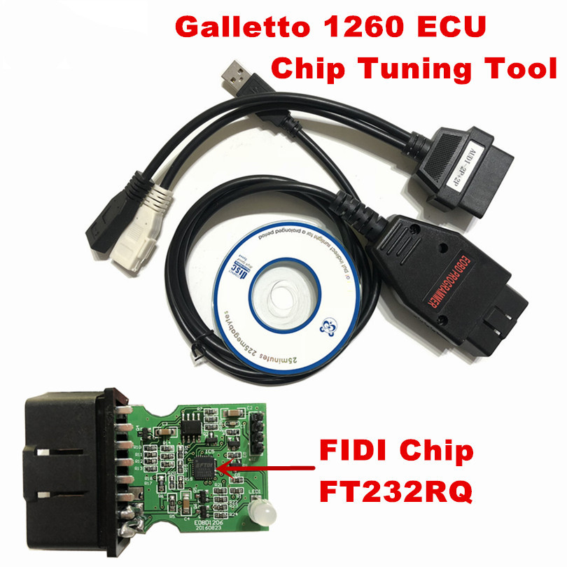 Car EOBD OBD2 Galletto 1260 ECU Diagnostic Cable Program Remap Flasher Tunning