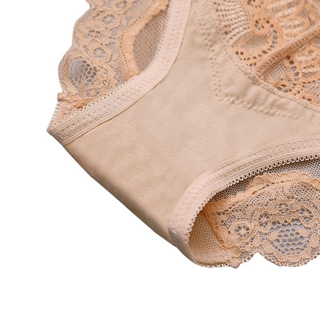 Panties Women's Sexy Lace Panel Transparent Mesh Solid Color Low Waist Hip Shaped Underwear Sweet Sexy Panties 2
