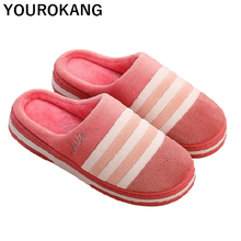 Plus Size Couple Winter Home Slippers Warm Women Indoor Shoes Striped Soft Plush Lovers Flip Flops Unisex Antiskid 2019 Slipper