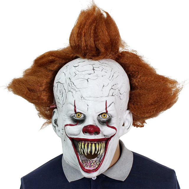2019 Movie Stephen Kings It Pennywise Cosplay Mask Latex Halloween Scary Masks Funny Clown Party Mask with Hair Costume Props
