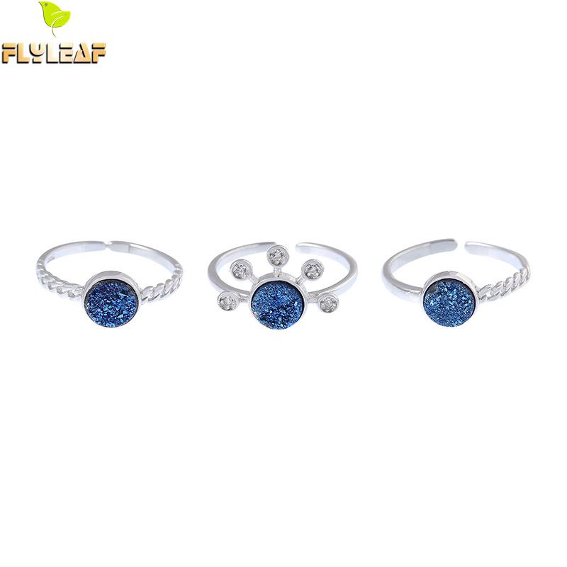 Flyleaf Agate Crushed Stone Real 925 Sterling Silver Rings For Women Fine Jewelry Open Ring High Quality Stackable Luxury Design