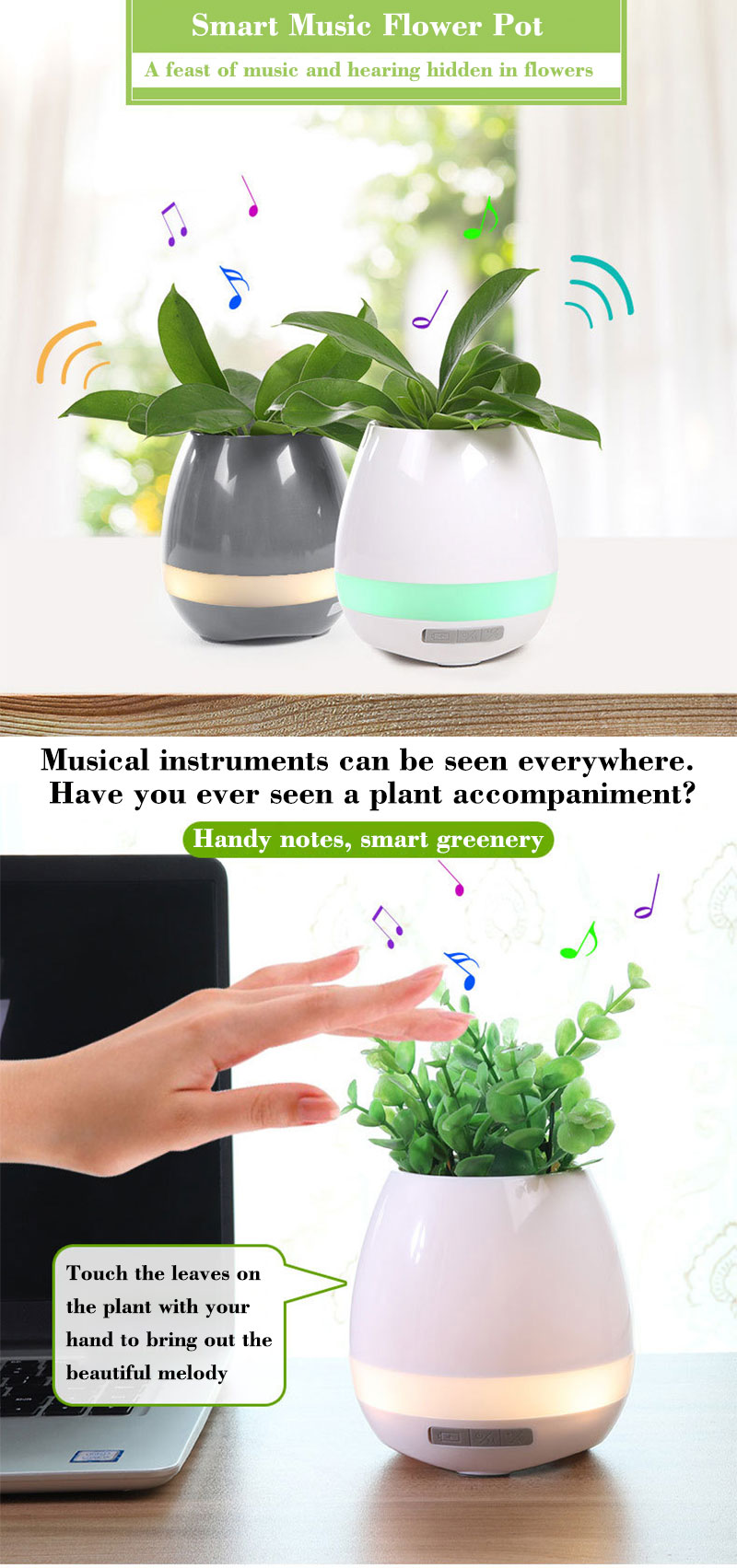 Bluetooth Speakers Music Flowerpot Smart Plant Pots 1