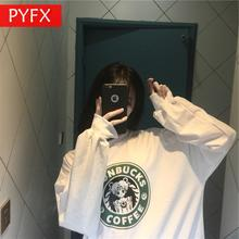 Autumn new Korean  ins Harajuku loose section cartoon pattern cute girl college style white hoodie Womens coat Sweatshirt