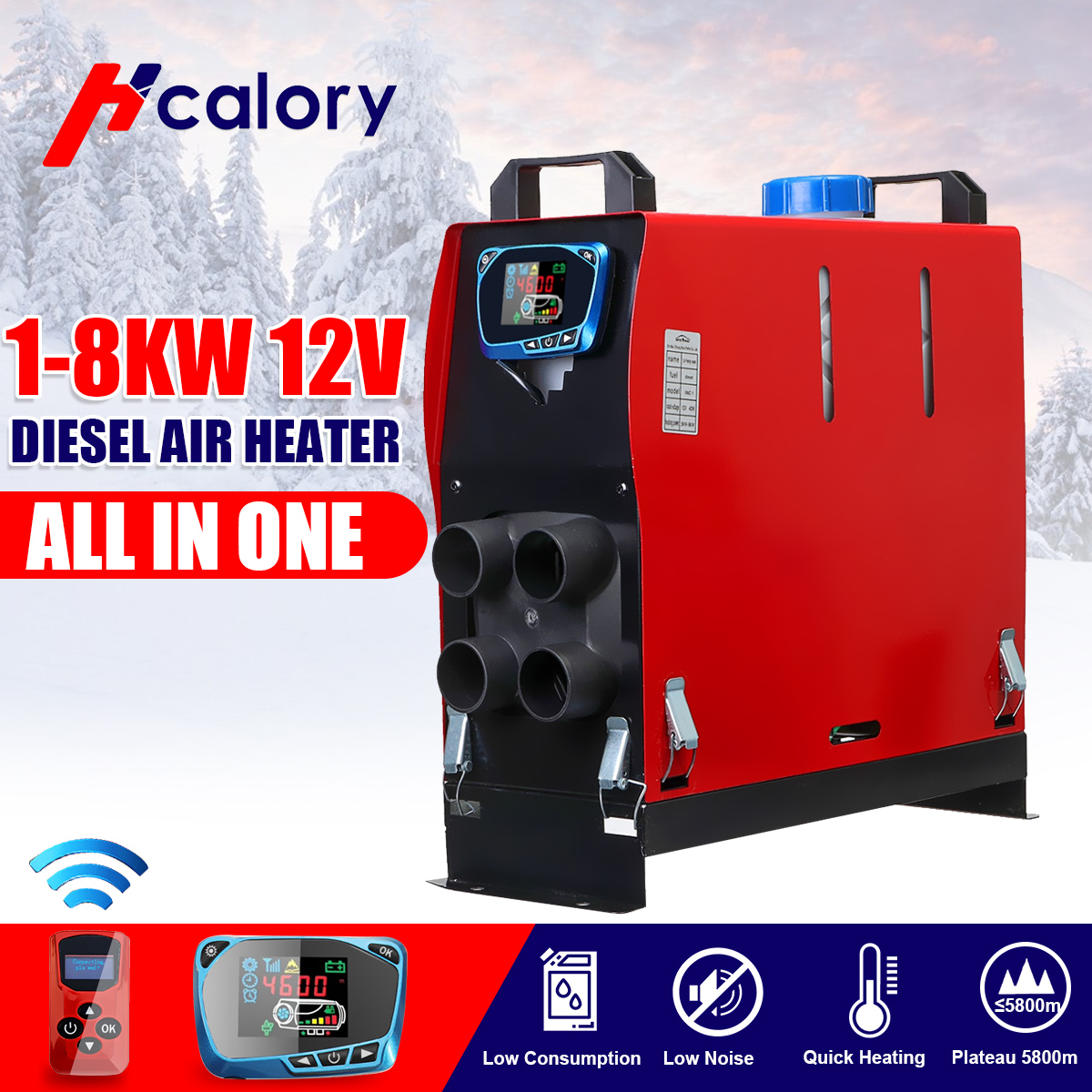 3KW/5KW/8KW Air Diesels Heater 8KW 12V 1 Hole Car Heater For Trucks Motor-Home Boats Bus +LCD Key Switch + Silencer + Remote