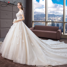 SERMENT Luxury Lace Wedding Dress Lotus Leaf White Style Embroidery Flower Neck Line Up Suitable for Pregnant Women