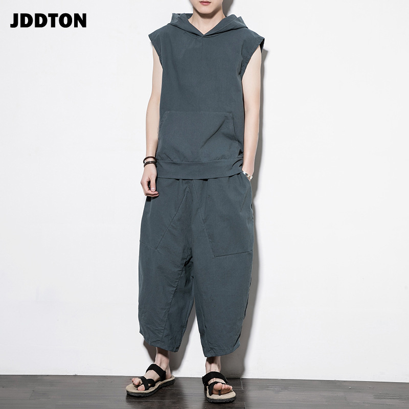 JDDTON New Men's Spring Sleeveless Suit Linen Solid Color Outerwear Fashion Style Casual Loose Low Gear Male Hooded Suit JE052