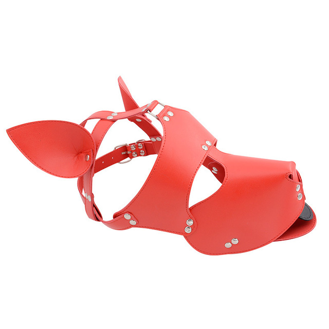 Black Red Leather Dog Bdsm Mask Bondage Restraints Cosplay Mask Costume erotic SM Slave Head Cover Harness Fetish kinky Sex Toys 6