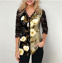 Plus tamanho 4xl 5xl pullovers blusa camisa boho impressão laço splice feminino camisetas com decote em v solto feminino impressão digital meia manga