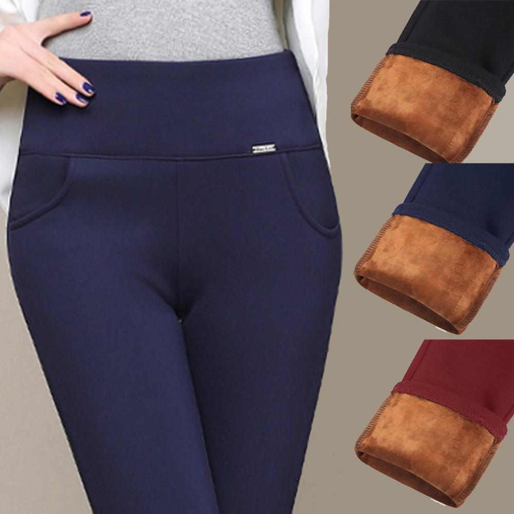 Lmiss Winter Leggings Women Plus Size High Waist Stretch Thick Legging Solid Skinny Warm Velvet Pencil Pants Lady Trousers 2019