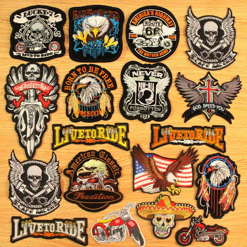 Heart Skull Iron On Patches For Clothing Apparel Tiger Embroidered Patches On Clothes Motorcycle Biker Stripes Wolf Badges Patch