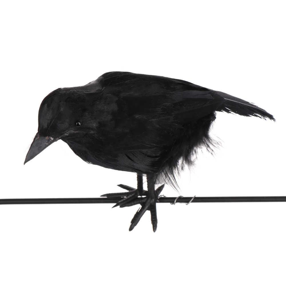 1pc קטן מלאכותי סימולציה עורב נוצות רייבן ליל כל הקדושים קישוט אבזרי מזויף ציפור חידוש צעצועי מלאכות מסיבת אבזר