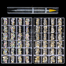 Nail Rhinestone Set 480pcs/Box With One PC Dot Pen Crystals AB DIY Rhinestones Gold Bottom Glass Stones For Nail Art Accessories