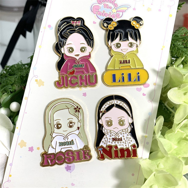 KPOP BlackPink New Album KILL THIS LOVE Metal Brooches Pins JICHU LILI ROSE NINI JENNIE Badges Fans Collection wj121(China)