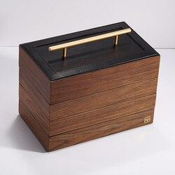 3 couches et 4 couches nouvelle boîte à bijoux en bois avec poignée rangement bijoux organisateur étuis de transport femmes anneaux collier boîte