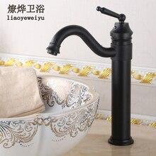 Grifo antiguo americano de baño negro Vintage con alto calor en frío en la sección del lavabo