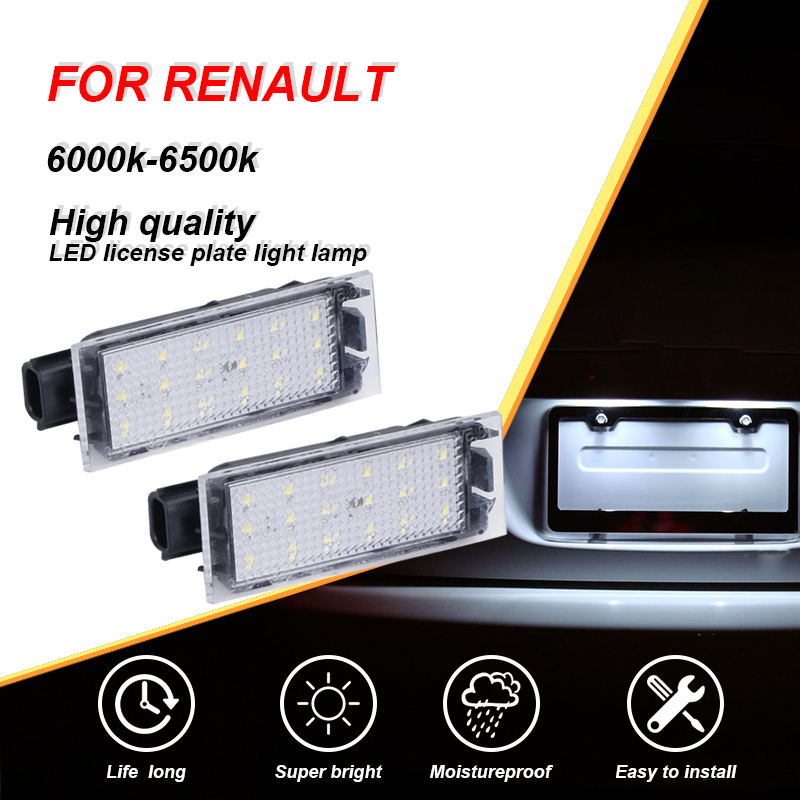 CARLitek 2X White <font><b>Led</b></font> Auto Number Plate Lamp Car License Plate Light For <font><b>Renault</b></font> Megane <font><b>3</b></font> Vel Satis Clio Laguna 2 Twingo <font><b>Master</b></font> image