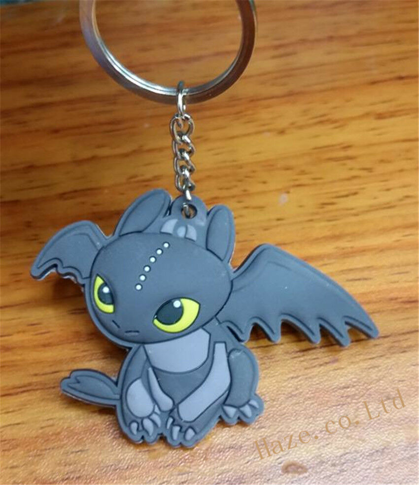 Hot Anime Dreamworks How To Train Your Dragon Night Fury Toothless Keyring 8cm PVC Keychain Ring For Friend Great Xmas Gift