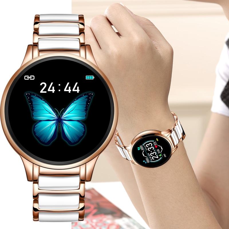 Lige 2020 novo relógio inteligente senhoras freqüência cardíaca pressão arterial lembrete de informações esportes à prova dwaterproof água pulseira cerâmica