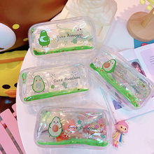 1 PC Butter Fruit Creativity Quicksand Transparent Makeup Bag Female Ins Wind Simple Portable Big Capacity Storage Bag(China)