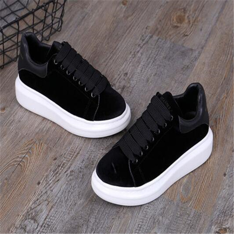 round head flat platform women's shoes black lace casual shoes celebrity comfort shoes wine red 35 44 - 2