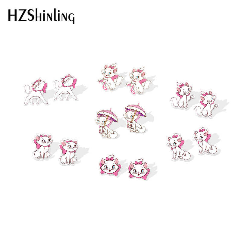 2019 Baru Cute Cat Akrilik Anting-Anting Yang Indah Kucing Stud Anting-Anting Epoxy Fashion Seni Resin Anting-Anting
