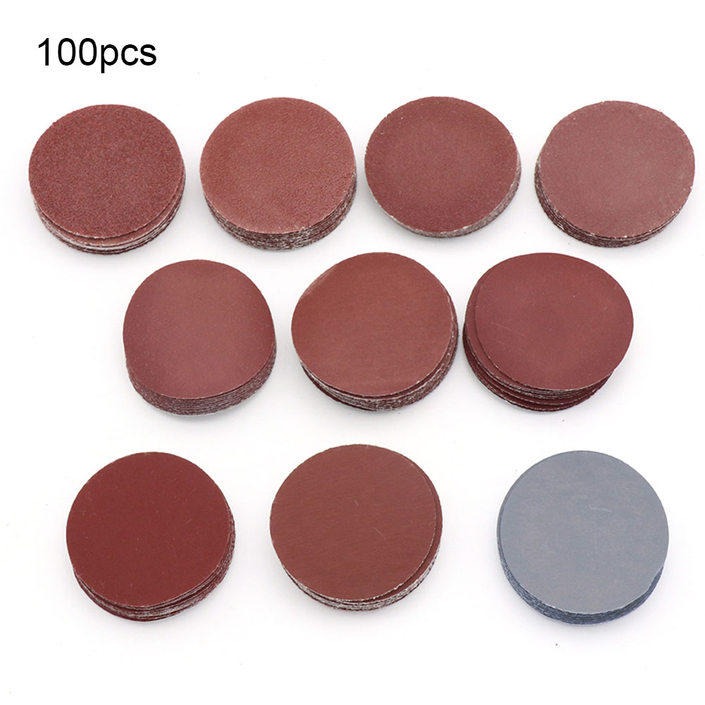 100pcs 2inch Sheets Grinding Assorted Polish Pad Cleaning Tools 80-3000 Grits Sanding Disc Set Sandpaper Mini Hook Loop