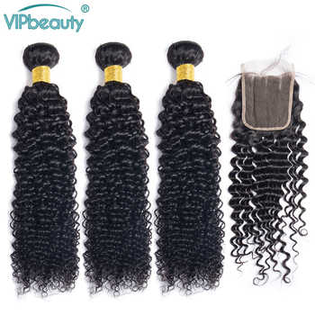 Vip beauty Human hair 3 bundles with closure Malaysian kinky curly hair bundles with closure remy human hair extensions - DISCOUNT ITEM  50% OFF All Category