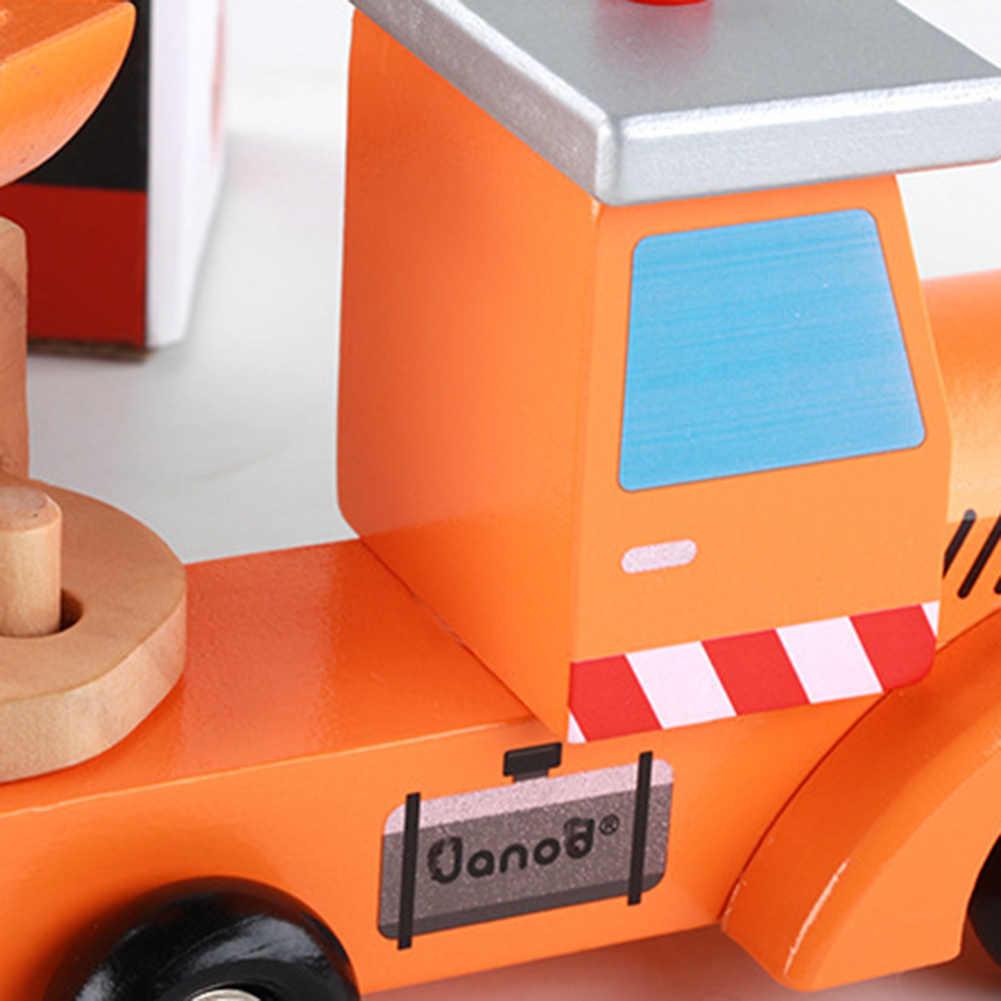 4 Buah/Set Warna Kayu Loader Bulldozer Excavator Model Pendidikan Mainan Anak
