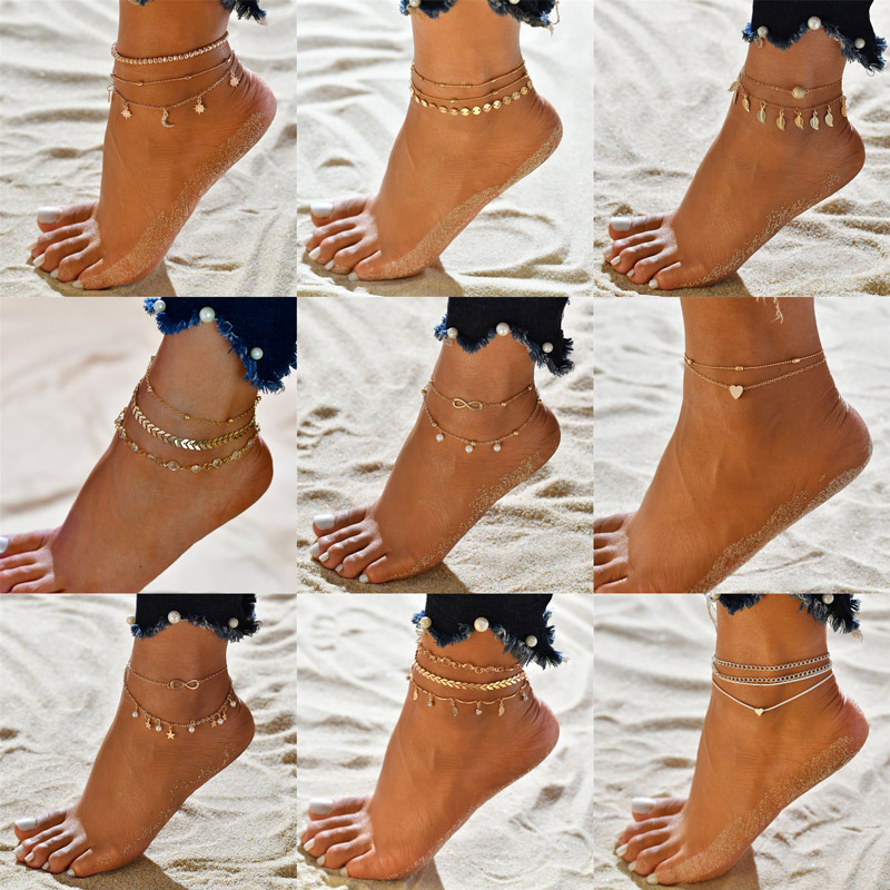 Modyle 2020 Gold Color Women Anklets Simple Heart Barefoot Crochet Sandals Foot Jewelry Two Layer Foot Legs Bracelet Anklets