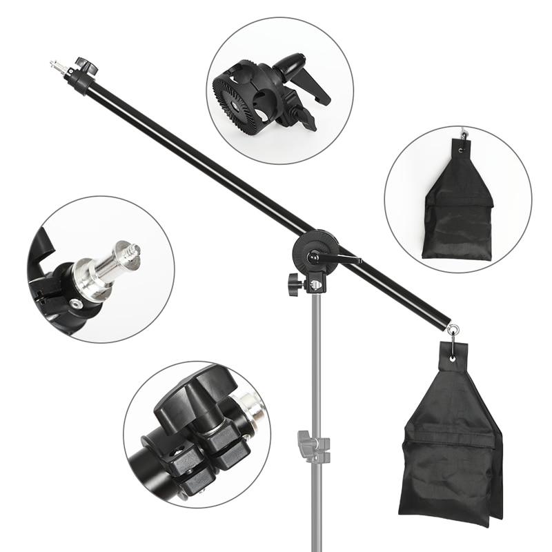 72-137cm Studio Photo Telescopic Boom Arm Top Light Stand With Sandbag for Speedlite /Mini Flash Strobe /Softbox/LED Video Light