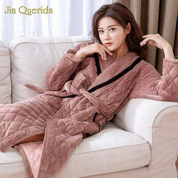 Kimono Female Robes  Long Sleeve Lapel Home Wear Lingerie Plus Size Female Warm Robe Dressing Gown Velvet Robe Winter Bathrobes - DISCOUNT ITEM  43% OFF All Category