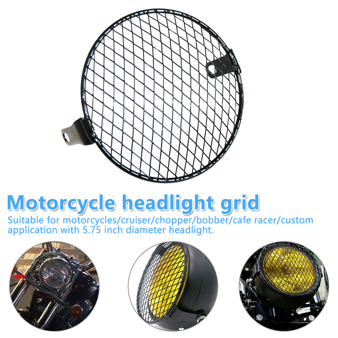 Motorcycle Modified Headlight Hood Headlight Round Cover LED Headlights Grid Cover For Cruiser Chopper Cafe Racer