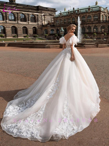 Image 2 - Waulizane V Neckline Ball Gown  Wedding Dress Off the shoulder Flare Sleeves With Chapel Train