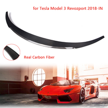 Car Rear Spoiler Wing Carbon Fiber Rear Trunk Lip for Tesla Model 3 Revozport 2018-IN Car Styling Refit Car Spoiler Wing for infiniti g37 4door sedan rear spoiler wing lip car styling for g37 high quality carbon fiber rear trunk spoiler wing 2007 13