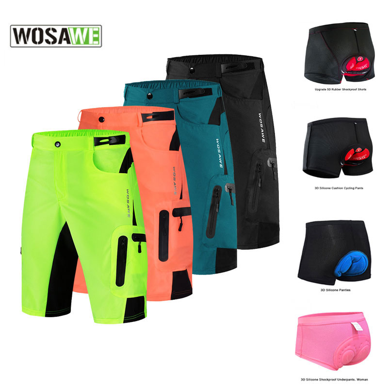 WOSAWE Cycling Shorts MTB Mountain Bike Pants Loose-fit Bicycle Shorts Summer