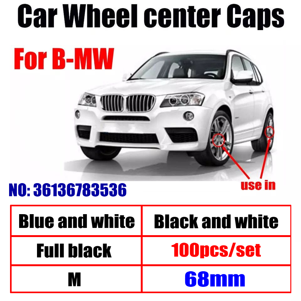 100pcs 68mm 10pins Car Wheel Center Hub caps Rim Caps Logo Emblem For BMW E90 F10 F30 M5 E63 F15 E64 E65 E86 E89 E85 E92 E91 F02 image