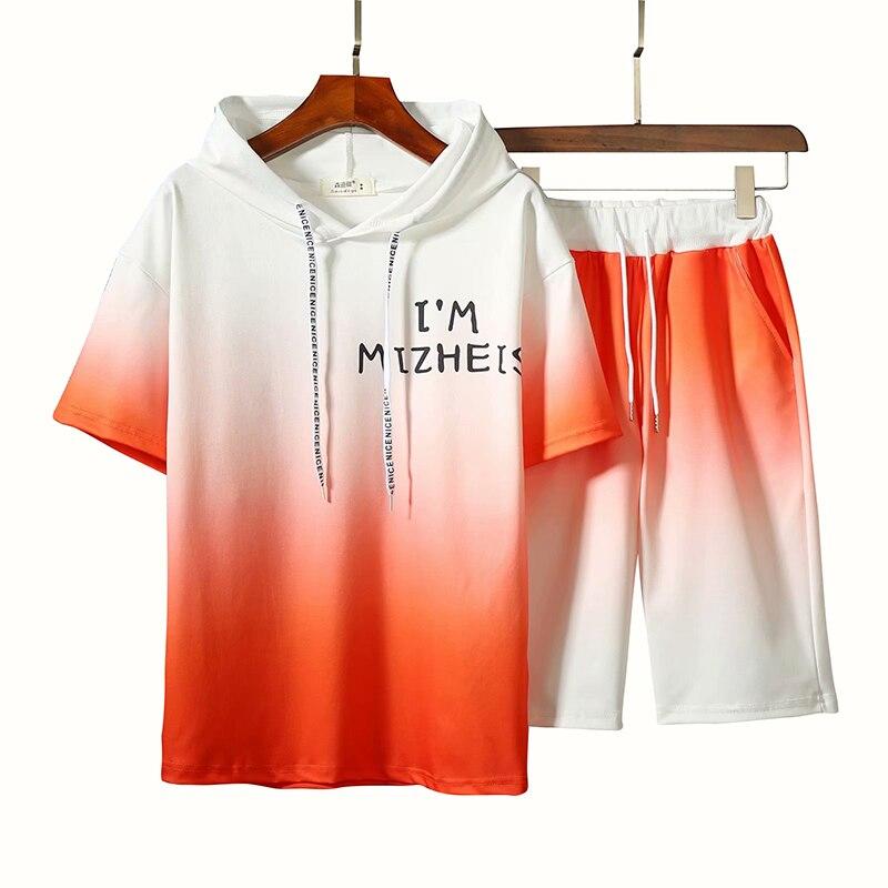 Summer Tracksuit Mens Set Gradient Color Short Sleeve Hooded Undershirt T Shirt+jogging Fitness Shorts Casual Men 2 Piece Set
