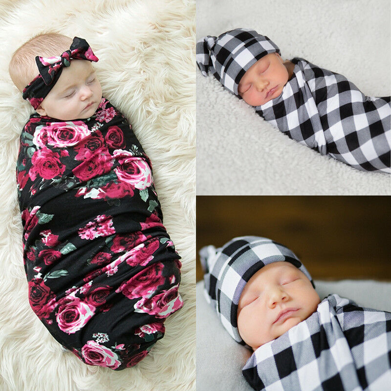Newborn Kids Baby Swaddle Blanket Floral Plaid Boys Girls Stretch Wrap Bath Towel Towel Sleep Swaddle Muslin Wrap+Headband/Hat