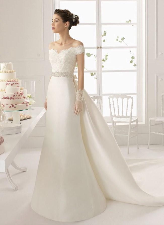 Detachable Train Lace Bodice Satin Mermaid Bridal Gown 2018 Elegant Cap Sleeve Vestido De Noiva Mother Of The Bride Dresses