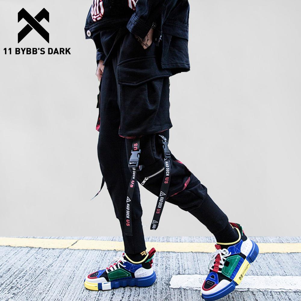 11 BYBB'S DARK Ribbons Pockets Harem Pants Men Streetwear Autumn Winter Sweatpants Hip Hop Joggers Slim Men Pencil Pants