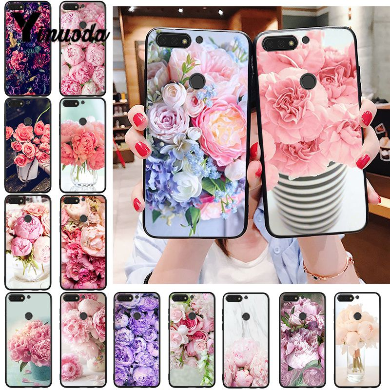 Yinuoda Elegant Pink Purple Peony Flower On The Vase  Phone Case For Huawei Honor 8A 8X 9 10 20 Lite 7A 5A 7C 10i 20i
