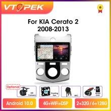 """Vtopek 9 """"4G + WiFi 2din Android 10.0 Radio Đa Phương Tiện Video Dẫn Đường GPS DSP Cho Xe Kia cerato 2 TD 2008 2013 Đầu Đơn Vị"""