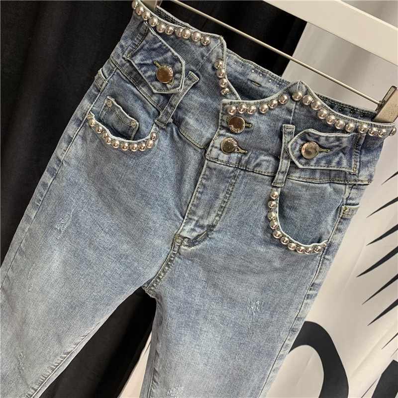 ユーロ夏薄型レディースハイウエストデニム鉛筆のズボンのファッション刺繍フレアはスリム · 女性の足首の長ズボン