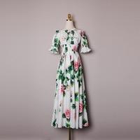 2020 Summer runways brand new design high quality women off shoulder dress Chic contton maxi dress B542