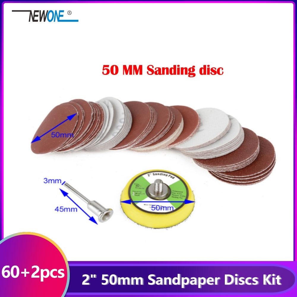 "60pcs 2"" 50mm Sandpaper Disc 100/240/600/800/1000/2000 Grits + 50mm Loop Sanding Pad with 45x3mm Shank Mayitr"