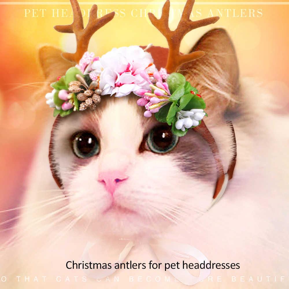 สุนัขคริสต์มาส Headbands Antlers อุปกรณ์สำหรับสัตว์เลี้ยง Dog Cat Deer Headband ตกแต่งตุ๊กตาสุนัข Antlers สุนัขสุภาพบุรุษ Headdress 4