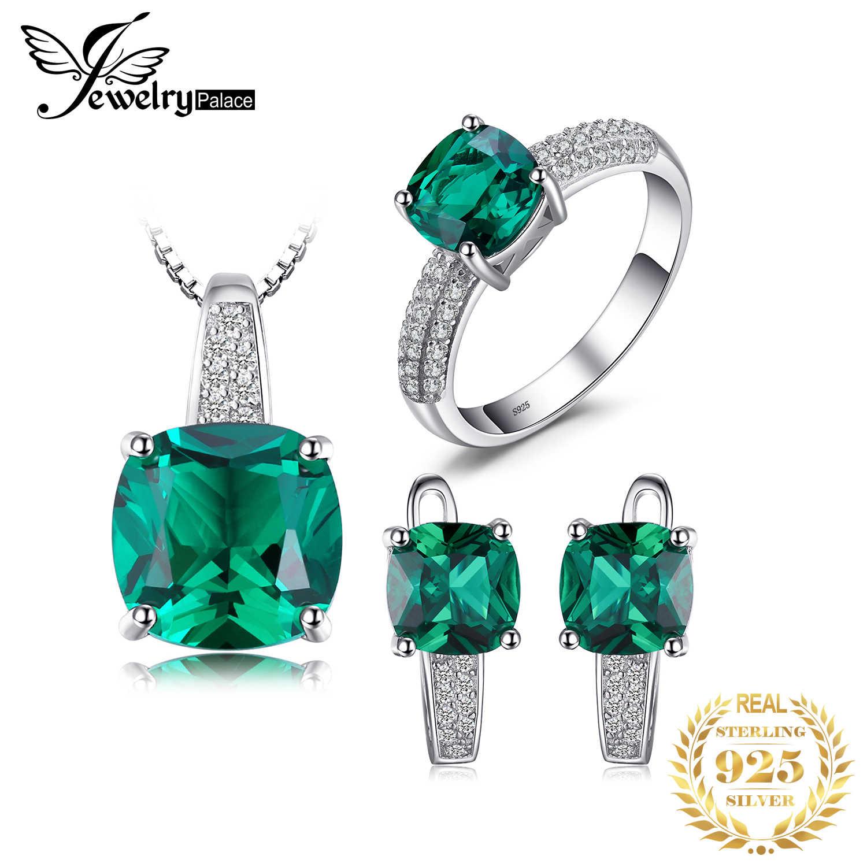 JewelryPalace สร้าง Emerald แหวนจี้ต่างหูชุดเครื่องประดับ 925 เงินสเตอร์ลิงเครื่องประดับอัญมณีเครื่องประดับ