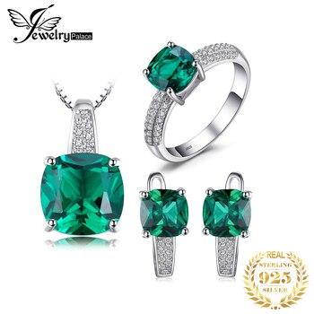 JewelryPalace Erstellt Smaragd Ring Anhänger Hoop Ohrringe Hochzeit Schmuck Sets 925 Sterling Silber Schmuck Edelstein Feine Schmuck