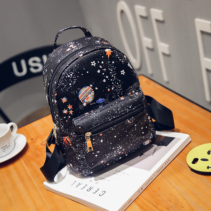 Trendy Fashion Printed Starry Backpack Female College Style Simple Student Backpack